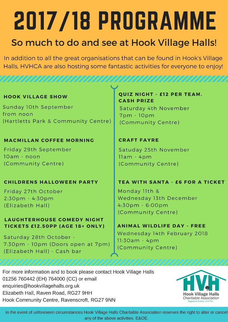 Hook Village Events 2017 - 2018